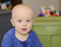 Happy Baby Teething and Drooling Royalty Free Stock Images