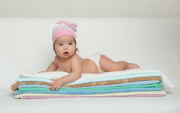 Happy baby on towel Royalty Free Stock Photos
