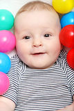 Happy baby with toys Royalty Free Stock Images