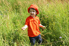 Happy baby walking in summer among grass Stock Photos