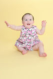 Happy baby waving arms. With copy space stock images