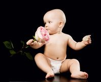 Happy baby wearing diapers royalty free stock image