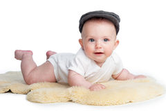 Happy Baby Wearing Flat Cap Royalty Free Stock Photography