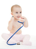 Happy Baby With Stethoscope Stock Photography