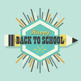 Happy Back To School colorful sun burst emblem design element Stock Photos