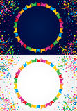 Happy background with flags for party. Background with many colorful flags and confetti around a circular area to put text Royalty Free Stock Photography