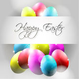 Vector Happy Background with Flying Colorful Eggs. Happy Background with Flying Colorful Eggs and caligraphy Royalty Free Stock Photo