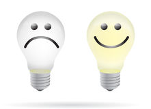 Happy and bad lightbulb illustration design Royalty Free Stock Photo