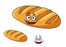 Happy baked crusty French baguette. Happy freshly baked golden cartoon crispy crusty French baguette with a wide smile isolated on white Royalty Free Stock Image