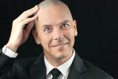 Happy Bald Man Feels Head Stock Images