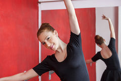 Happy Ballerina Practicing In Dance Studio Royalty Free Stock Images