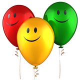 Happy balloons (Hi-Res). Three shiny colorful balloons with smiles. Isolated on white. 3D render Stock Photos