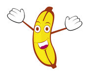 Happy banana. A very happy yellow banana Royalty Free Stock Photo