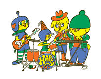 Happy band. Four cute and crazy cartoon characters playing music together Royalty Free Stock Images