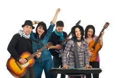 Happy band singing stock photo
