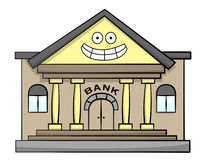 Happy bank. A cartoon illustration of a bank with a happy face Royalty Free Stock Photo