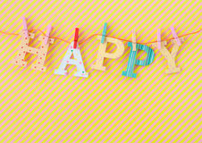 HAPPY banner on stripes Royalty Free Stock Photography