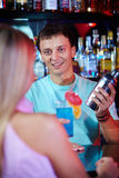 Happy barman Royalty Free Stock Image