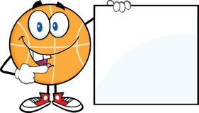 Happy Basketball Character Showing A Blank Sign Royalty Free Stock Photo