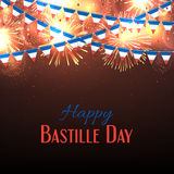 Happy Bastille Day banner. Background with fireworks and with a garland from France flags. 14 july celebration poster, vector illustration vector illustration