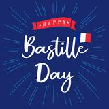 Happy Bastille Day banner blue with inscription and national flag on beams. National holiday in France 14 of july vector greetings card. Celebrate French vector illustration