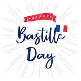 Happy Bastille Day banner with inscription and national flag on beams. National holiday in France 14 of july vector greetings card. Celebrate French Republic royalty free illustration