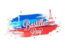 Happy Bastille Day celebration background. Happy Bastille Day celebration concept with Eiffel Tower on brush stroke  background Stock Photos