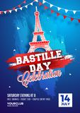 Happy Bastille Day celebration background. Happy Bastille Day celebration concept with  bunting flags and  Eiffel Tower on blue background Royalty Free Stock Images
