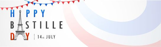 Happy Bastille Day celebration background. Happy Bastille Day celebration concept with bunting flags, Eiffel Tower and colorful waves on white background Stock Photography