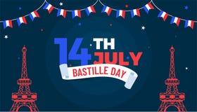 Happy Bastille Day celebration background. Happy Bastille Day celebration concept with bunting flags and Eiffel Tower on night background Royalty Free Stock Photo