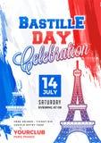 Happy Bastille Day celebration background. Happy Bastille Day celebration concept with Eiffel Tower Stock Photos