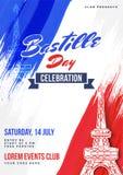Happy Bastille Day celebration background. Happy Bastille Day celebration concept with Eiffel Tower Stock Images