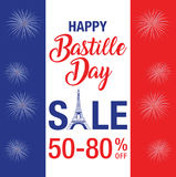 Happy Bastille Day Celebration Banner. Frence flag , eiffel tower and text stock illustration