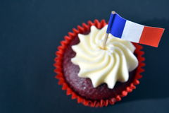 Happy Bastille Day cupcake. With red, white and blue french flag. Vive La France stock image