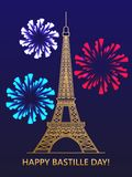 Happy Bastille day. Eiffel tower fireworks on the background of the flag of France. Greeting card. vector illustration Stock Images