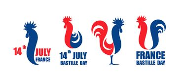 Happy Bastille Day, 14 July. Viva France National Day. French rooster. Isolated rooster on white background Stock Images