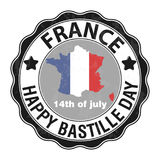 Happy Bastille Day, July 14. Viva France`s national day. Vector Illustration. Stamp, round emblem. Grey. Suitable for the design of your poster, banner stock illustration