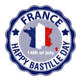 Happy Bastille Day, July 14. Viva France`s national day. Vector Illustration. Stamp, round emblem. Suitable for the design of your poster, banner, campaign stock illustration