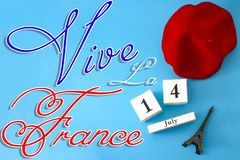 Free Happy Bastille Day, Long Live France And French National Day Concept With A Flat Lay Image Of Red Beret, A Block Calendar Set On Stock Image - 139790621