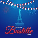 Happy Bastille Day with shiny Eiffel Tower and firework decorated temp. Late or banner design Royalty Free Stock Photo