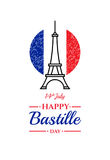Happy Bastille day, 14th July. French holiday Royalty Free Stock Images