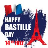Happy Bastille Day!. 14 th of July. Happy Bastille Day. Creative Vector illustration, card, banner or poster for the French National Day. Vector illustration stock illustration