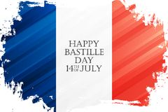 Happy Bastille Day, 14th of July holiday celebrate banner with national flag of France brush stroke background. vector illustration