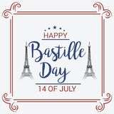 Happy Bastille Day. 14th of July. Illustration of a Banner for 14th of July. Happy Bastille Day. Text Space Background Royalty Free Stock Image