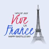Happy Bastille Day. 14th of July. Illustration of a Banner for 14th of July. Happy Bastille Day. Text Space Background stock illustration