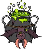 Happy bat hanging halloween cauldron Stock Photography