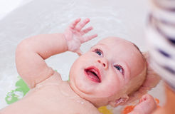 Happy bathing baby Royalty Free Stock Photos