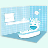 Happy in the bathroom. The cartoon character is in the bathroom and enjoy the shower Royalty Free Stock Photo