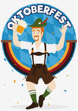 Happy Bavarian Celebrating the Oktoberfest with Confetti, Vector Illustration Royalty Free Stock Photo