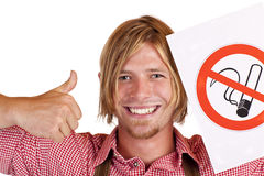 Happy Bavarian man agrees to no-smoking-rule Stock Photography